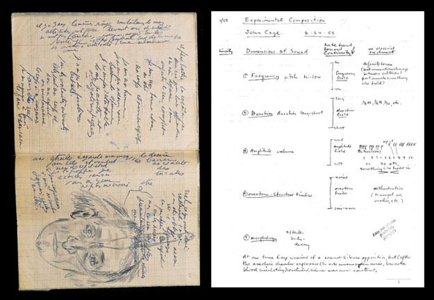 Image of a page each from Artaud and Brecht's notebooks.