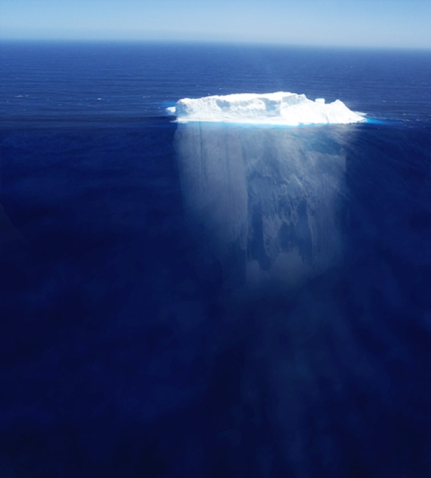 The body of an iceberg.