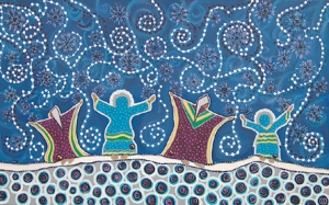 Snow Dancers, painting by Leah Dorion
