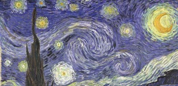 Upper details of Starry Night by Van Gogh