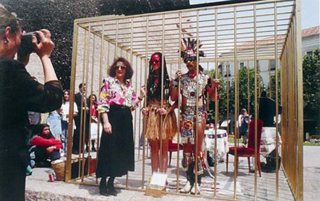 Performance by Coco Fusco and Guillermo Gómez-Peña