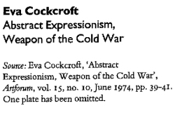 PDF: Abstract Expressionism, Weapon of the Cold War. Eva Cockcroft 1974.